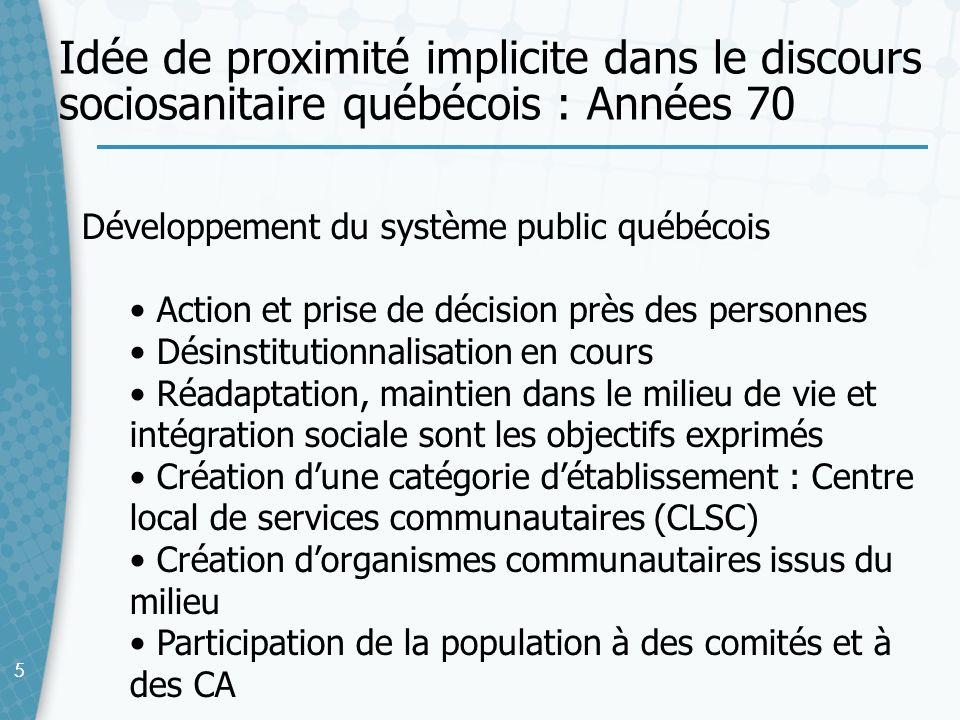 Idée de proximité implicite dans le discours sociosanitaire québécois : Années 70