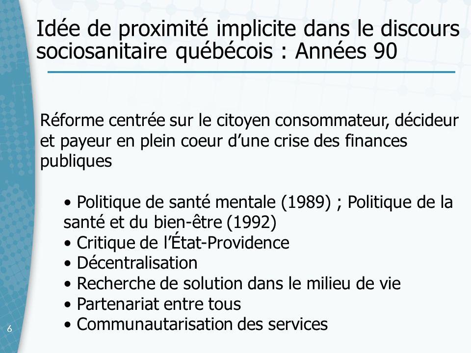 Idée de proximité implicite dans le discours sociosanitaire québécois : Années 90