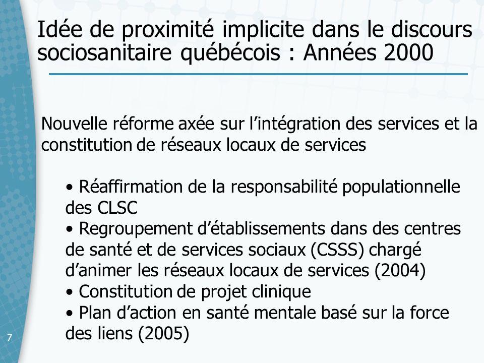 Idée de proximité implicite dans le discours sociosanitaire québécois : Années 2000