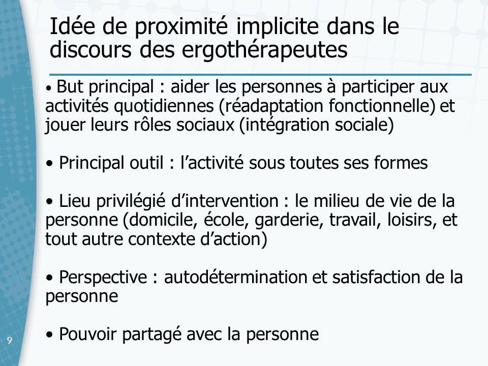 Idée de proximité implicite dans le discours des ergothérapeutes