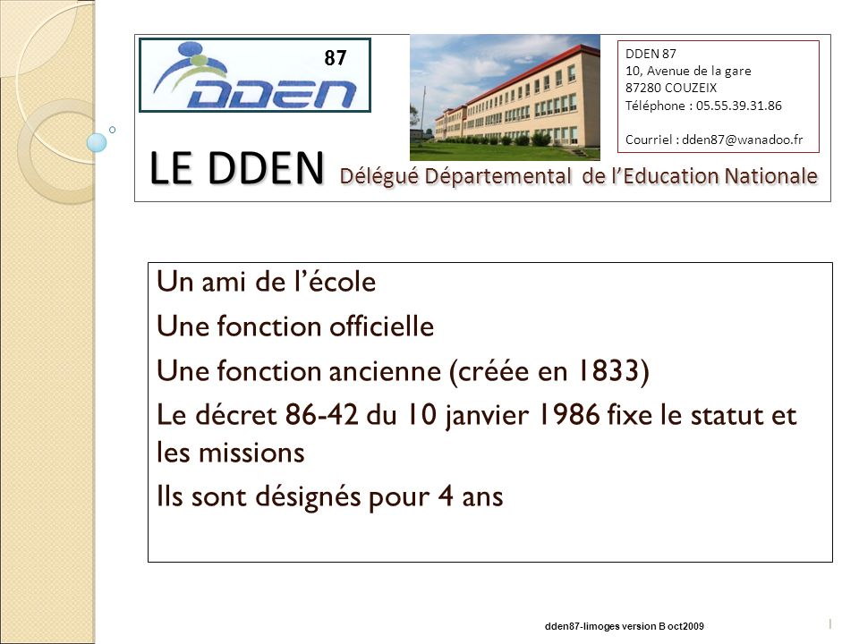 LE DDEN Délégué Départemental de l'Education Nationale