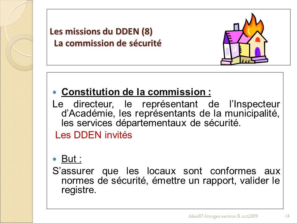 Les missions du DDEN (8) La commission de sécurité