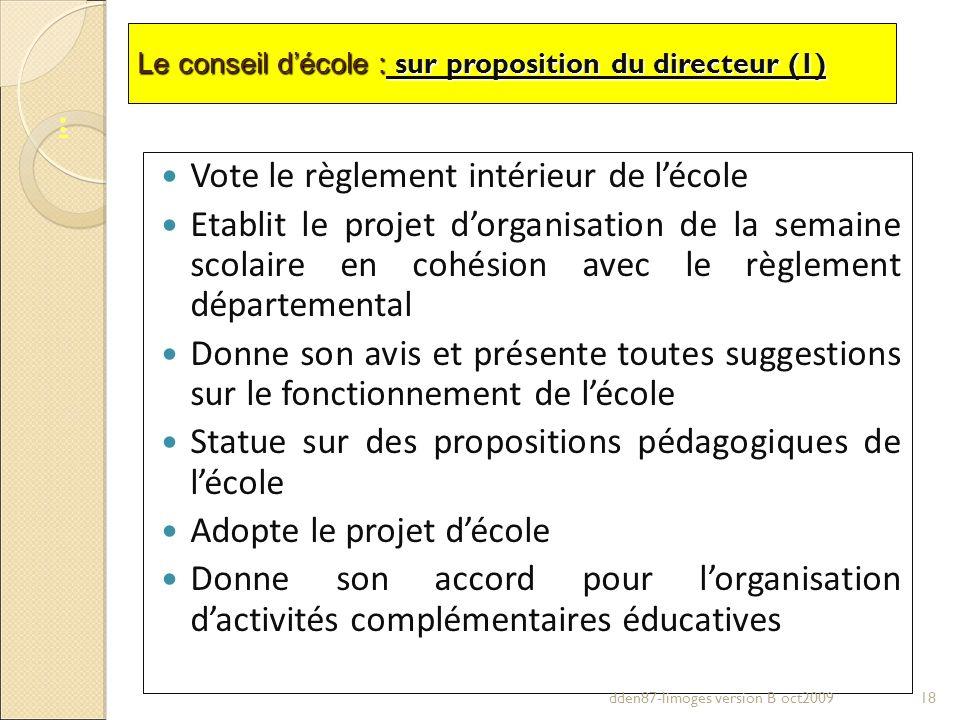 Vote le règlement intérieur de l'école