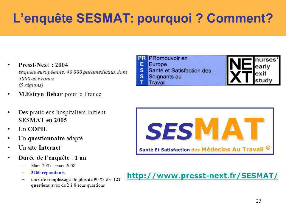 L'enquête SESMAT: pourquoi Comment