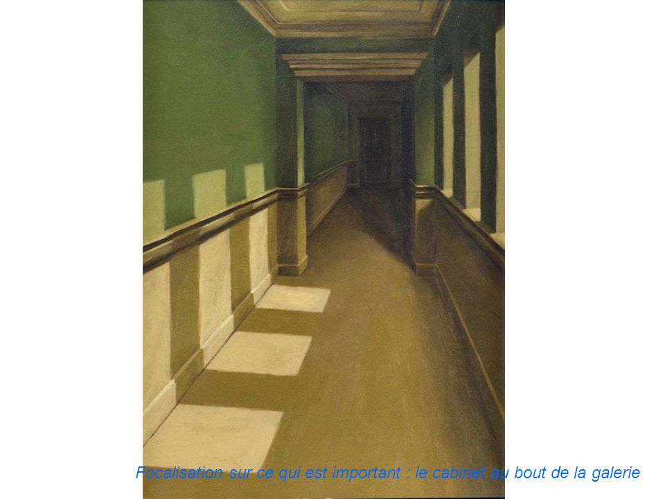 Focalisation sur ce qui est important : le cabinet au bout de la galerie