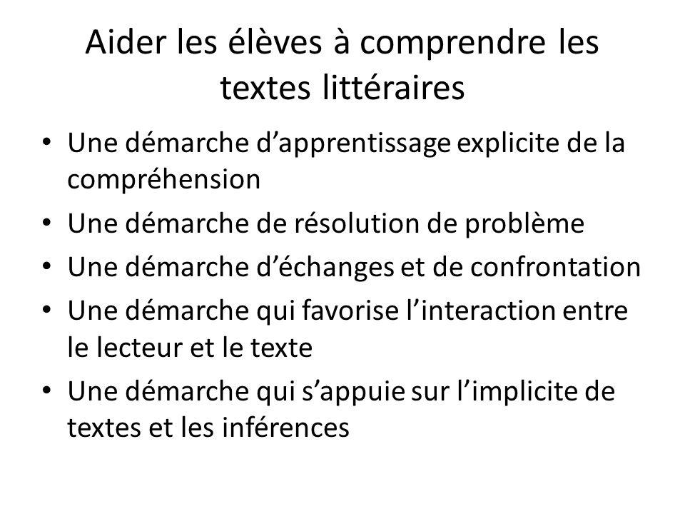 Aider les élèves à comprendre les textes littéraires