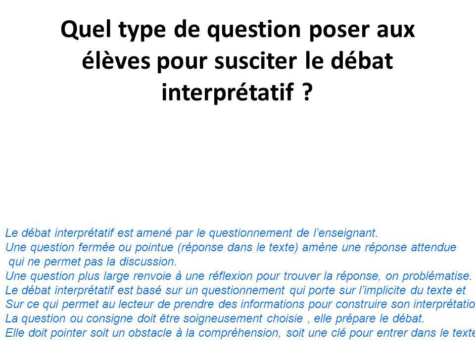 Quel type de question poser aux élèves pour susciter le débat interprétatif