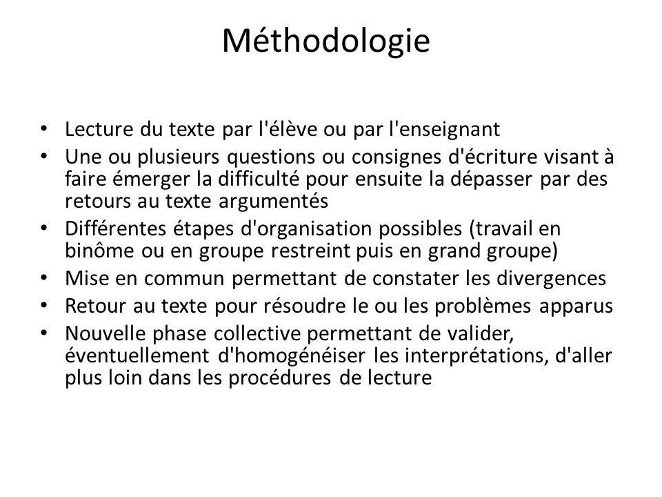Méthodologie Lecture du texte par l élève ou par l enseignant