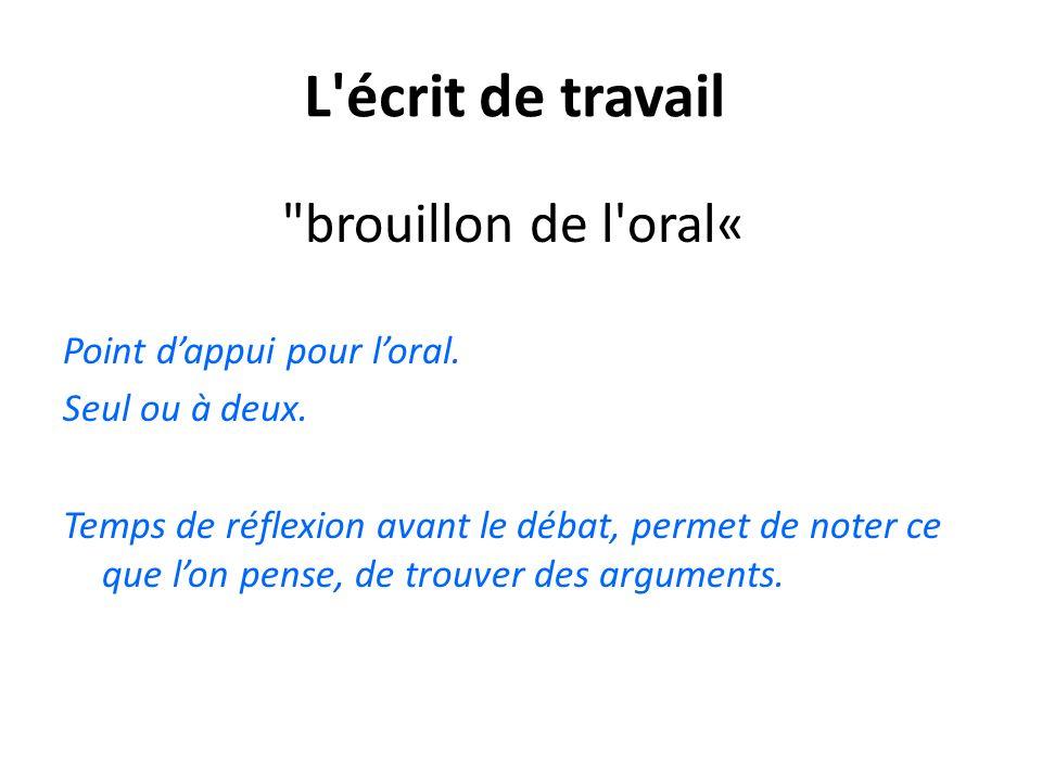 L écrit de travail brouillon de l oral« Point d'appui pour l'oral.
