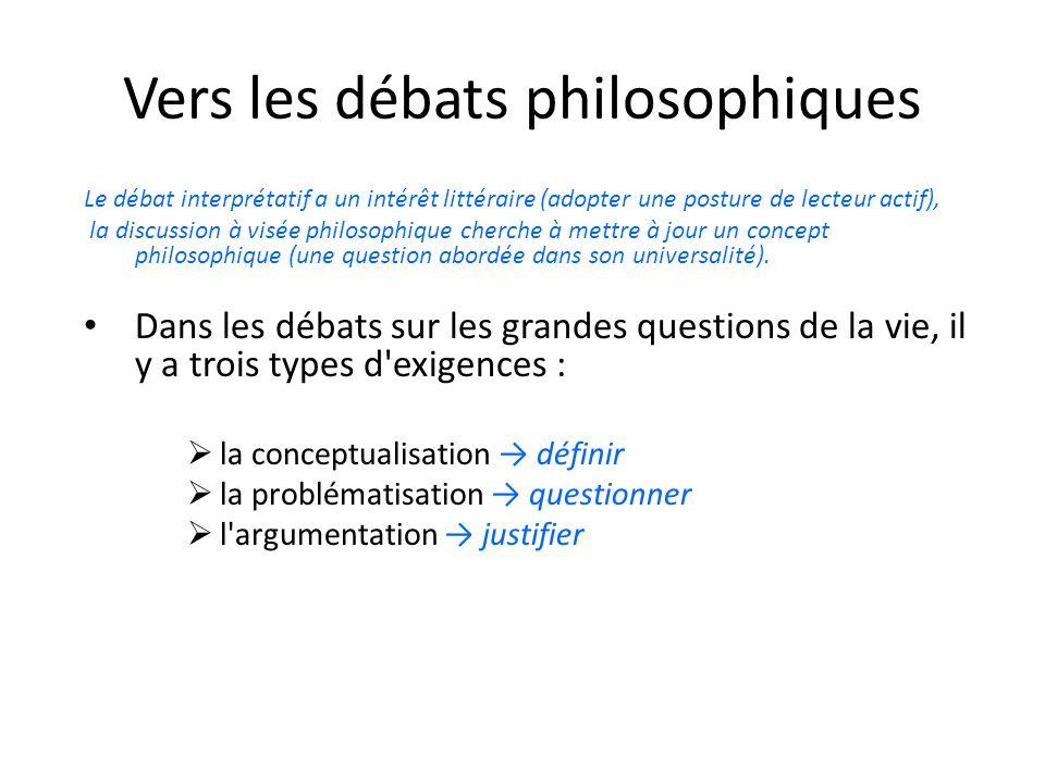 Vers les débats philosophiques