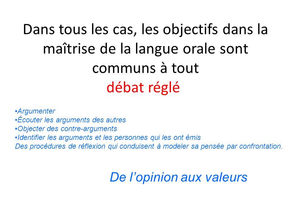 Dans tous les cas, les objectifs dans la maîtrise de la langue orale sont communs à tout débat réglé