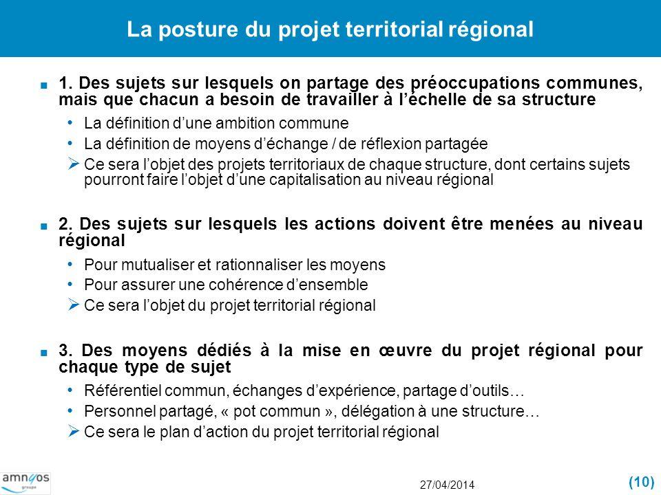La posture du projet territorial régional