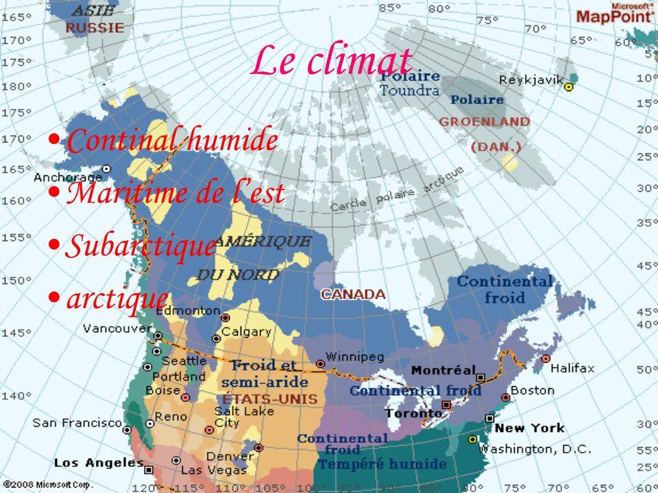 Le climat Continal humide Maritime de l'est Subarctique arctique
