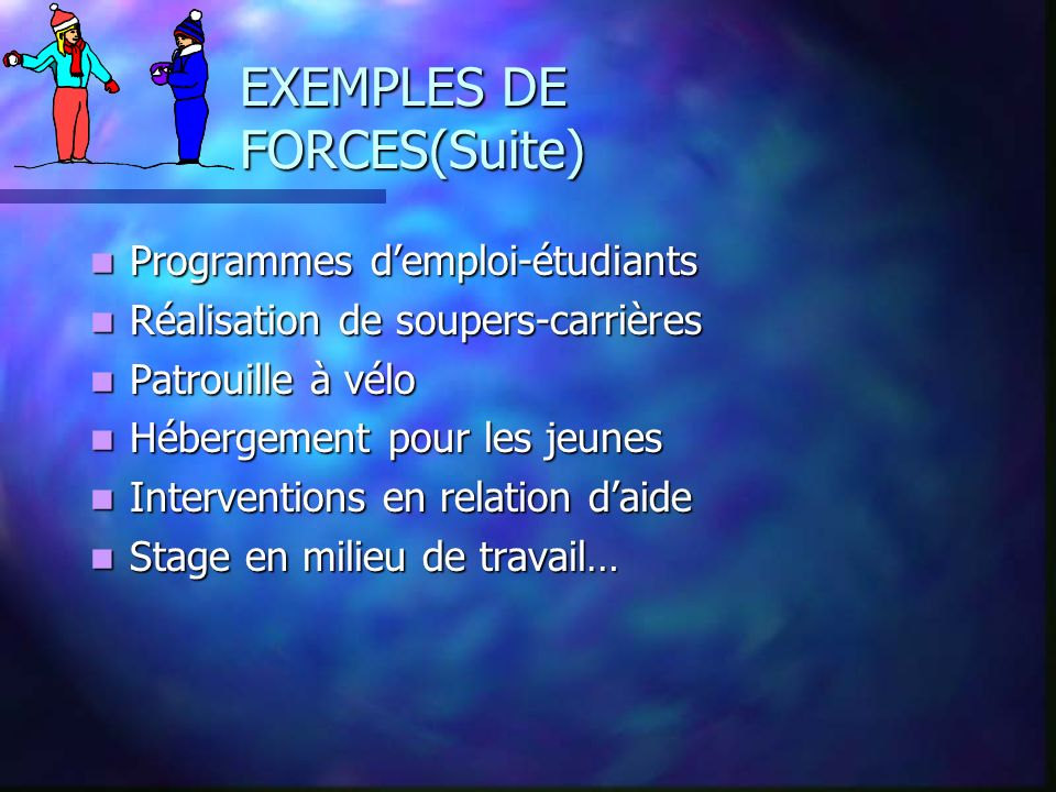 EXEMPLES DE FORCES(Suite)