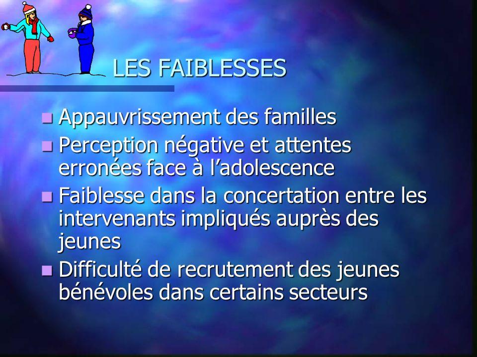LES FAIBLESSES Appauvrissement des familles