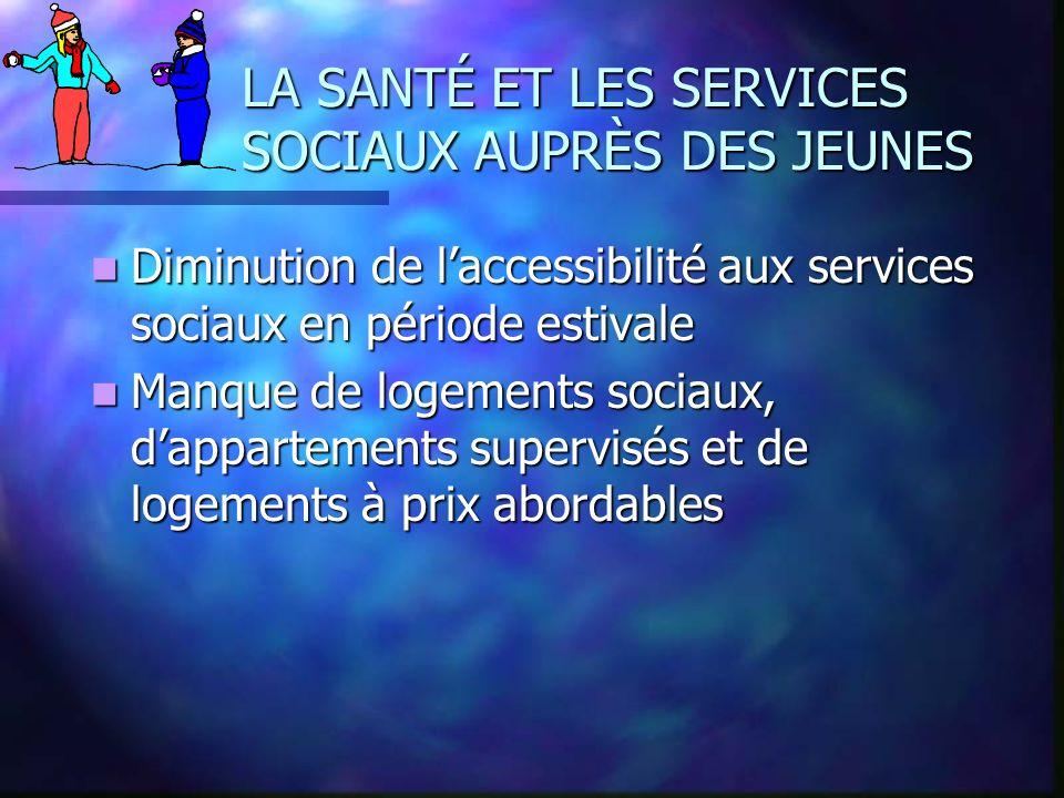 LA SANTÉ ET LES SERVICES SOCIAUX AUPRÈS DES JEUNES