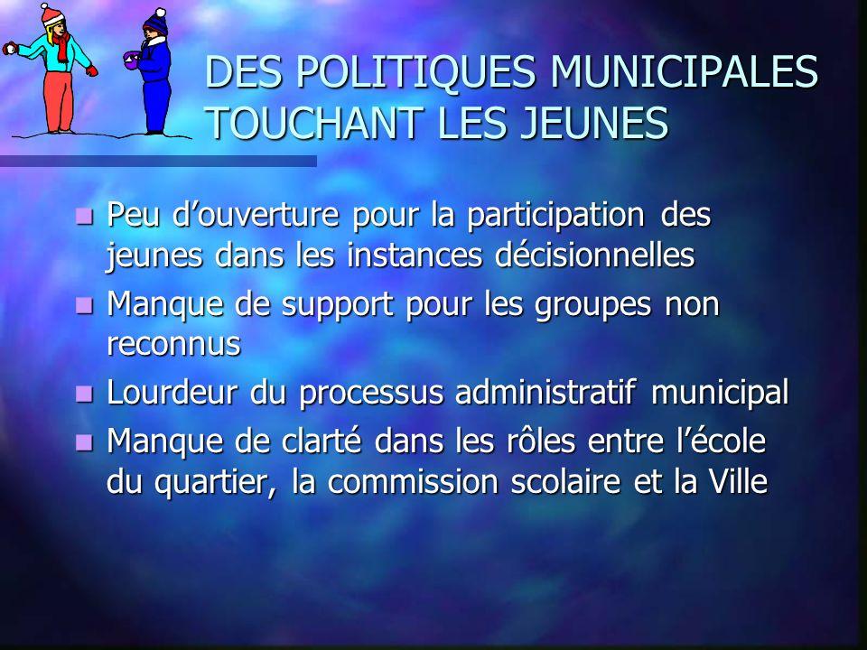 DES POLITIQUES MUNICIPALES TOUCHANT LES JEUNES