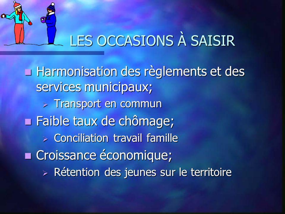 LES OCCASIONS À SAISIR Harmonisation des règlements et des services municipaux; Transport en commun.