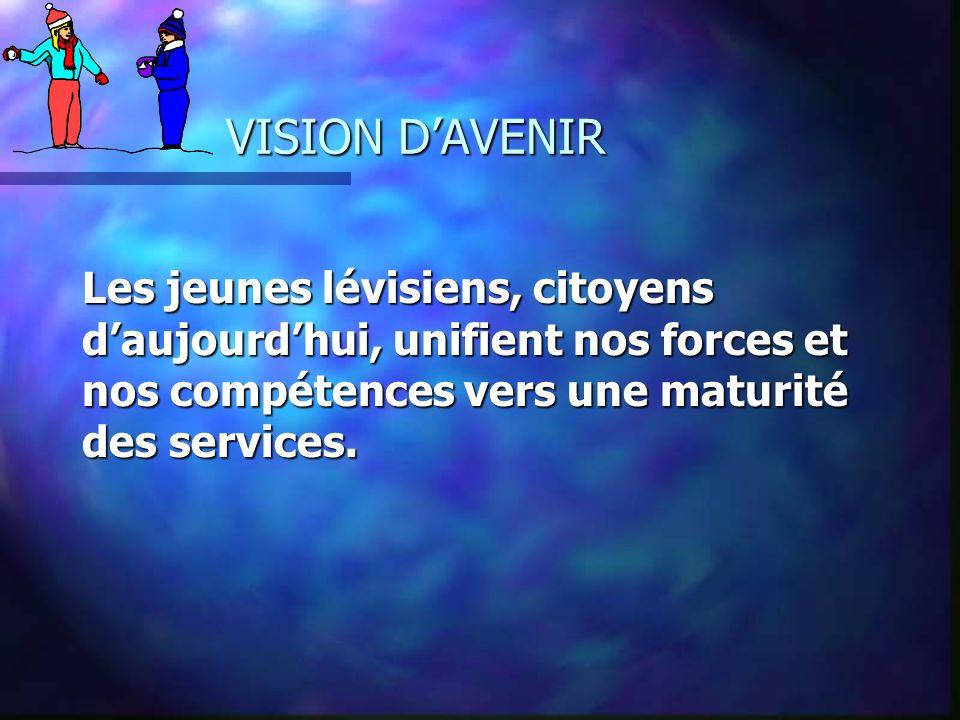 VISION D'AVENIR Les jeunes lévisiens, citoyens d'aujourd'hui, unifient nos forces et nos compétences vers une maturité des services.