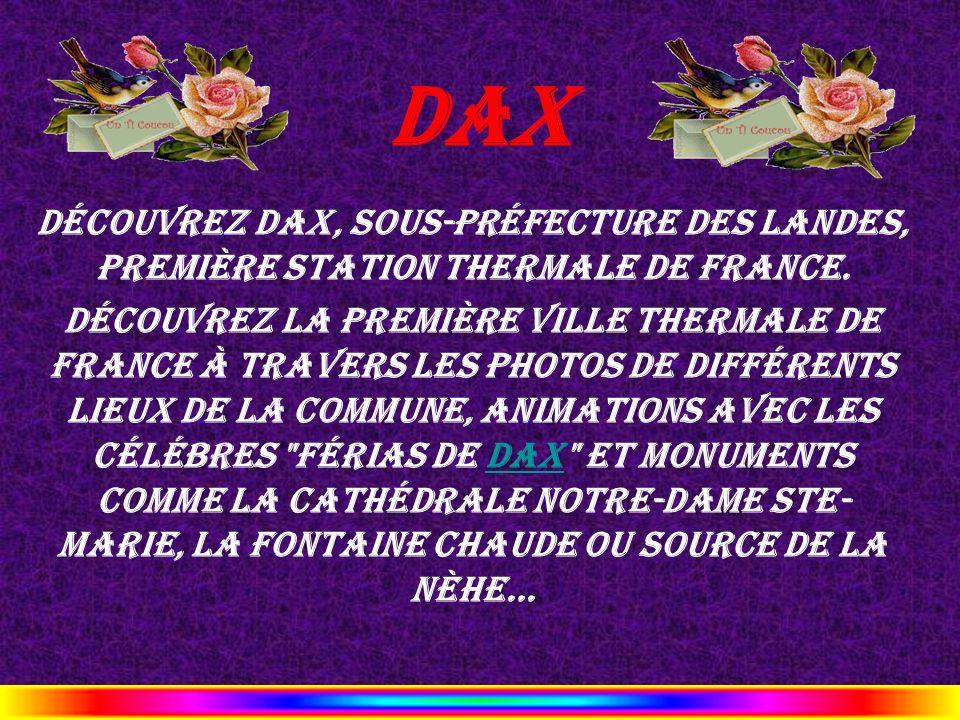 Dax Découvrez Dax, sous-préfecture des Landes, première station thermale de France.