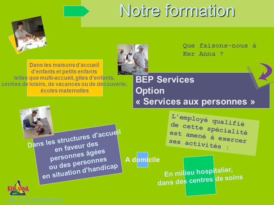 Notre formation BEP Services Option « Services aux personnes »