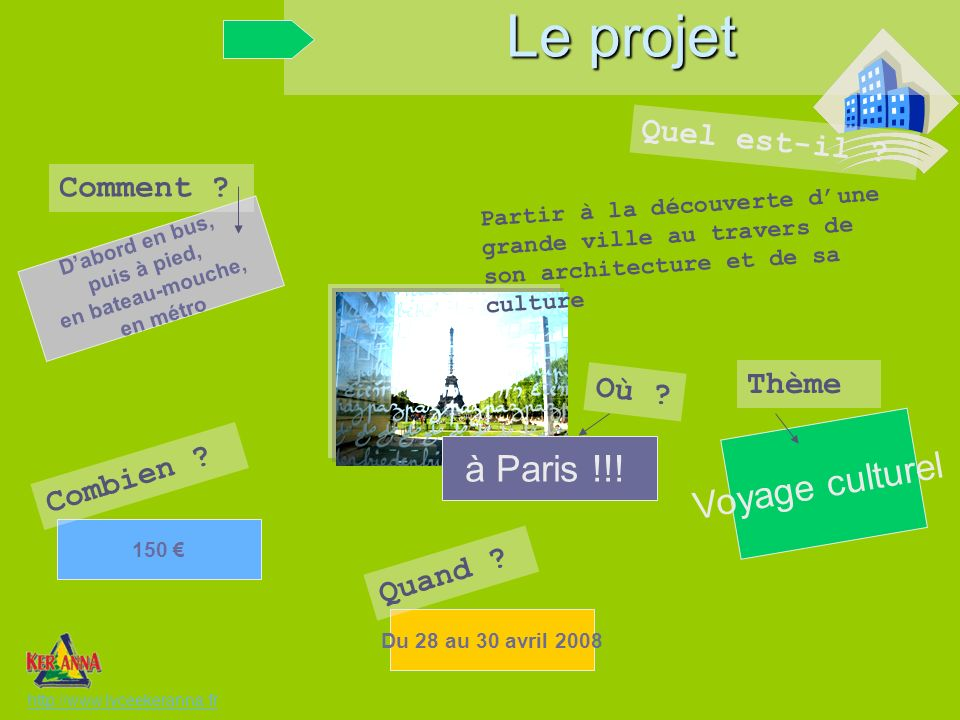 Le projet Voyage culturel à Paris !!! Quel est-il Comment Thème