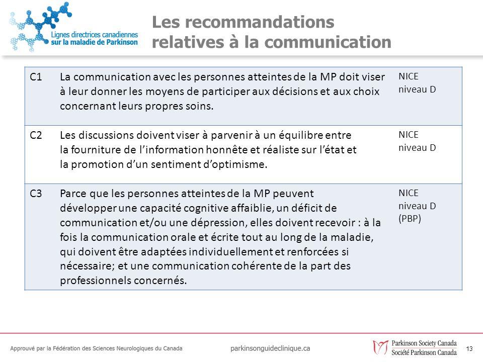Les recommandations relatives à la communication