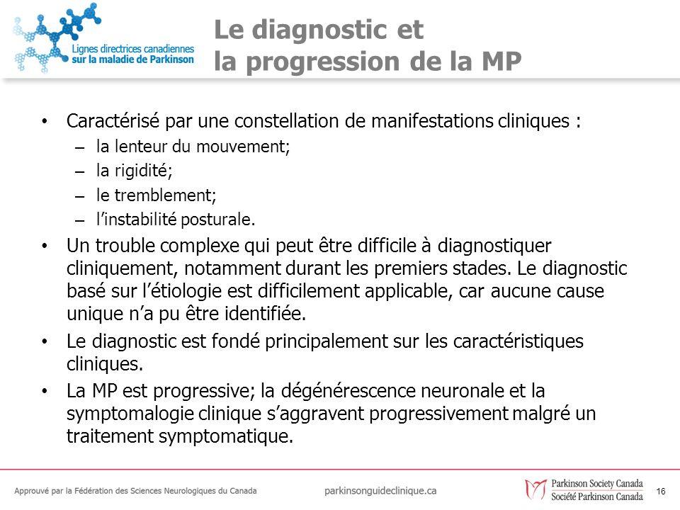 Le diagnostic et la progression de la MP