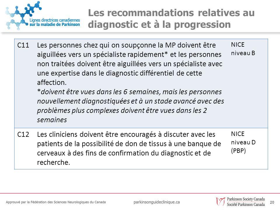 Les recommandations relatives au diagnostic et à la progression