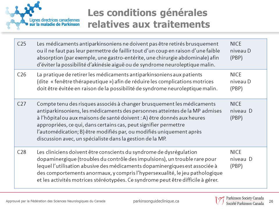 Les conditions générales relatives aux traitements
