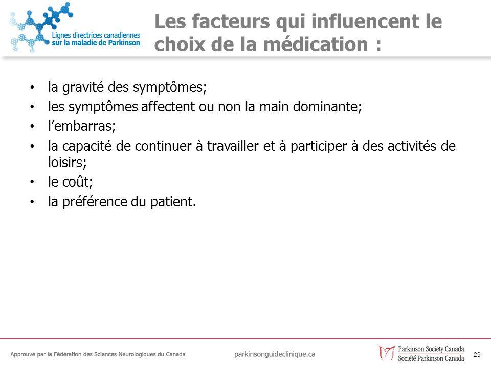 Les facteurs qui influencent le choix de la médication :