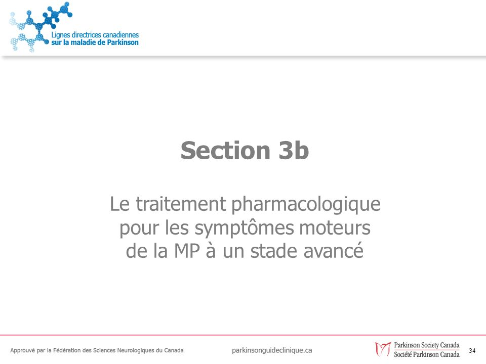 Section 3b Le traitement pharmacologique pour les symptômes moteurs de la MP à un stade avancé