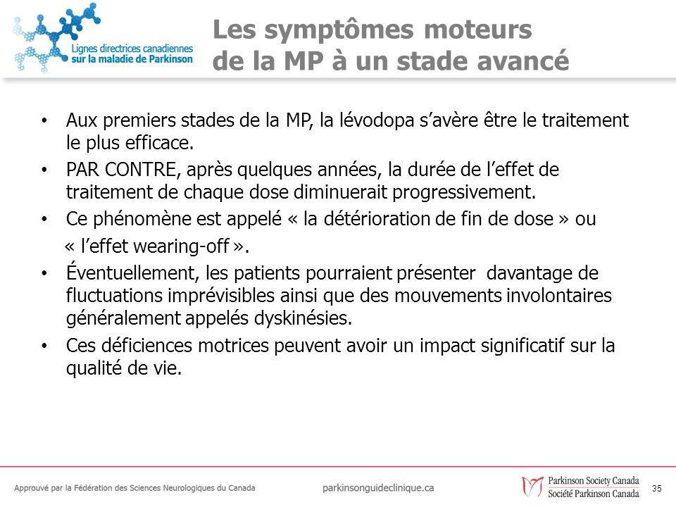 Les symptômes moteurs de la MP à un stade avancé