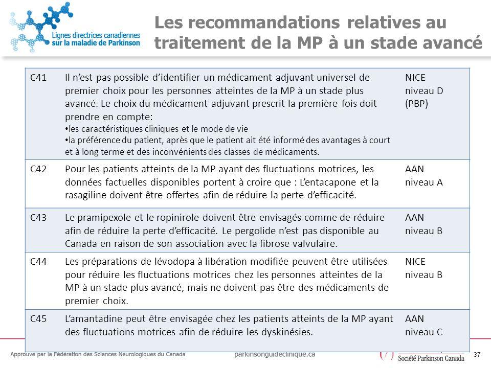 Les recommandations relatives au traitement de la MP à un stade avancé