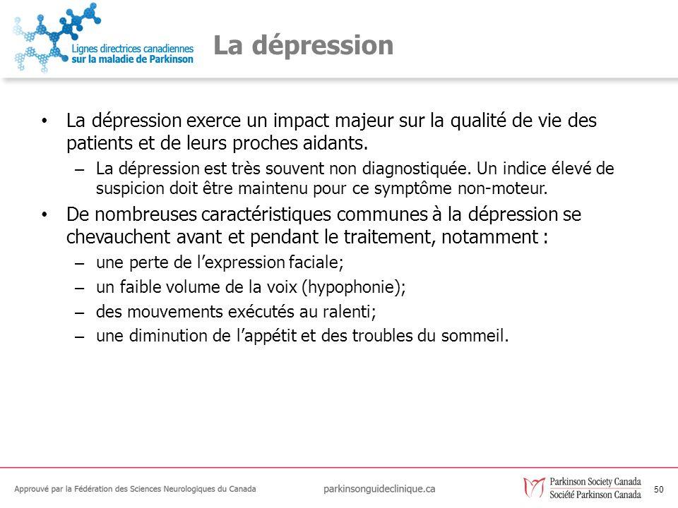 La dépression La dépression exerce un impact majeur sur la qualité de vie des patients et de leurs proches aidants.