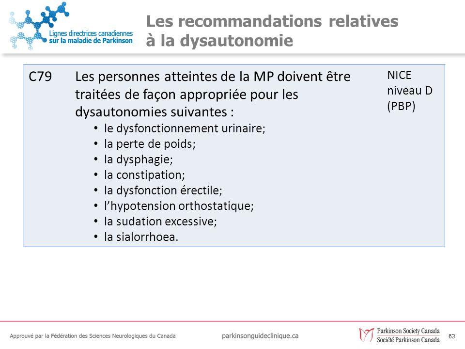 Les recommandations relatives à la dysautonomie