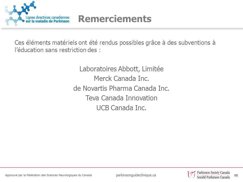 Remerciements Laboratoires Abbott, Limitée Merck Canada Inc.