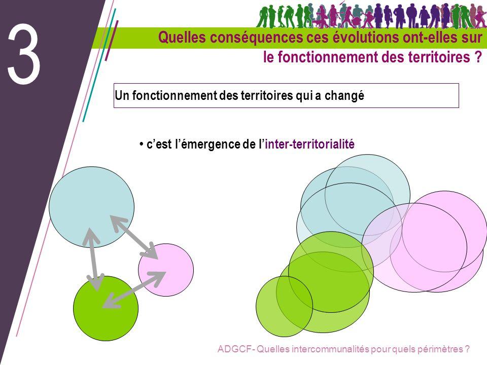 3 Quelles conséquences ces évolutions ont-elles sur le fonctionnement des territoires Un fonctionnement des territoires qui a changé.