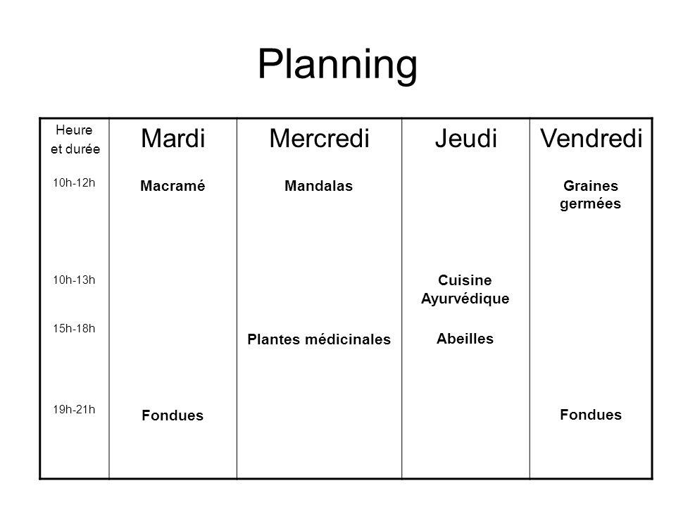 Planning Mardi Mercredi Jeudi Vendredi Macramé Fondues Mandalas