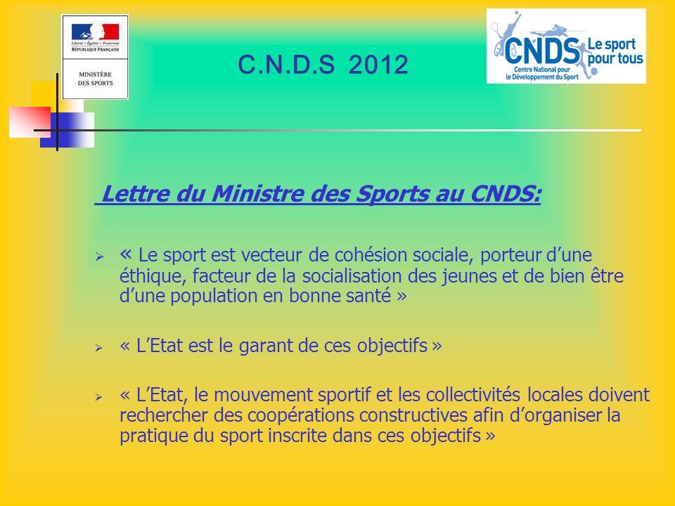 C.N.D.S 2012 Lettre du Ministre des Sports au CNDS: