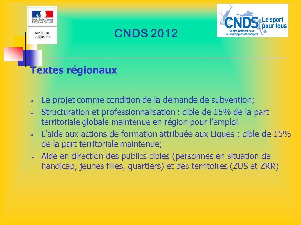 CNDS 2012 Textes régionaux. Le projet comme condition de la demande de subvention;