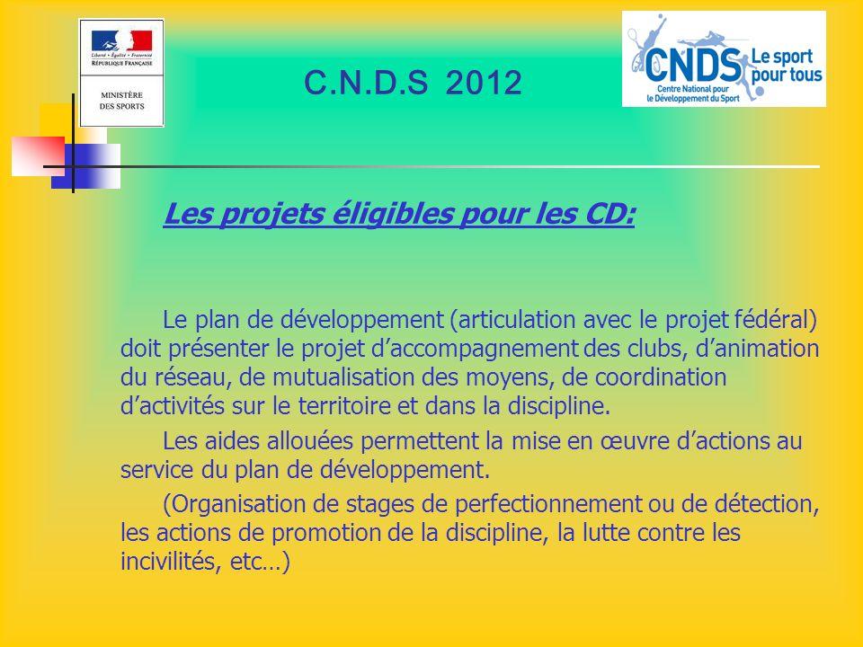 C.N.D.S 2012 Les projets éligibles pour les CD:
