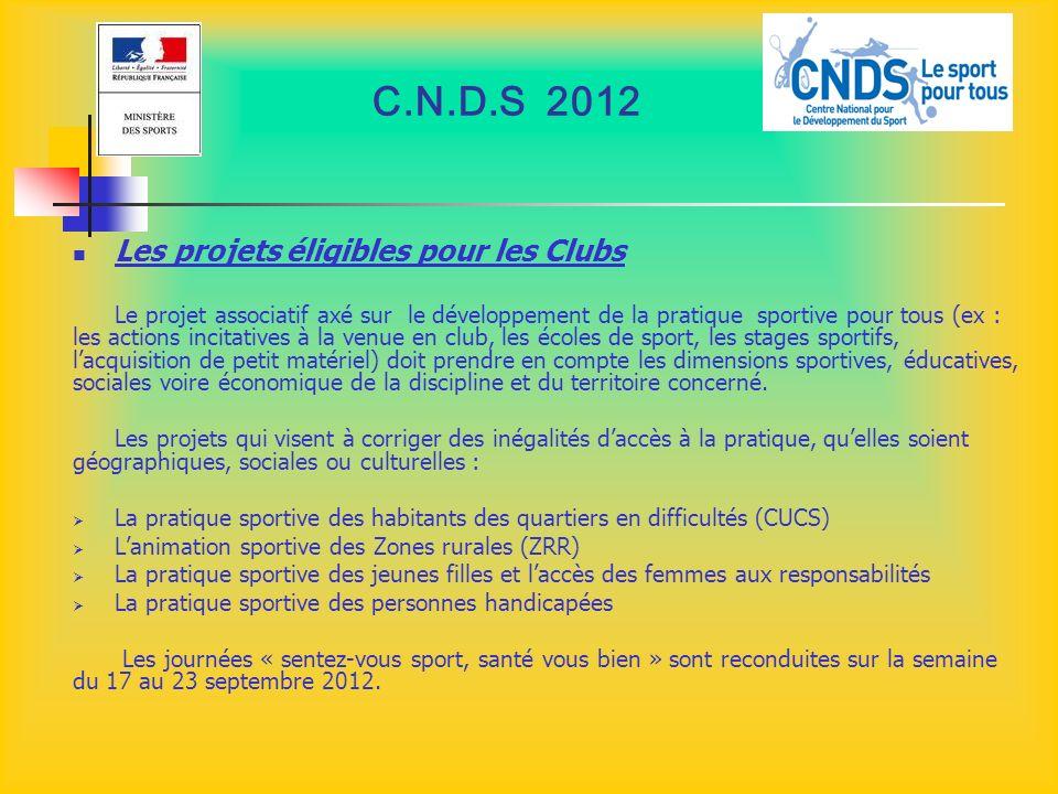 C.N.D.S 2012 Les projets éligibles pour les Clubs