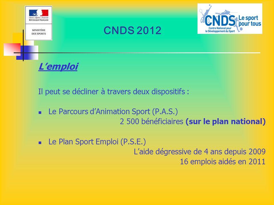 CNDS 2012 L'emploi Il peut se décliner à travers deux dispositifs :