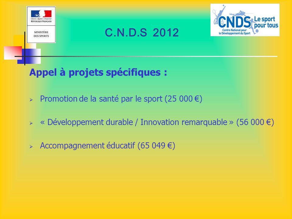 C.N.D.S 2012 Appel à projets spécifiques :