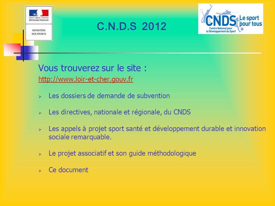 C.N.D.S 2012 Vous trouverez sur le site :