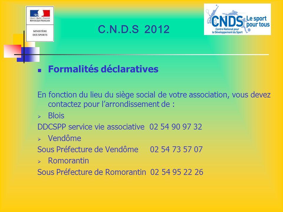 C.N.D.S 2012 Formalités déclaratives