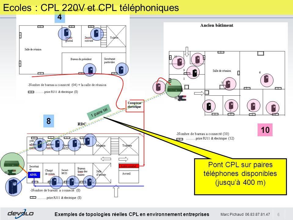 Pont CPL sur paires téléphones disponibles