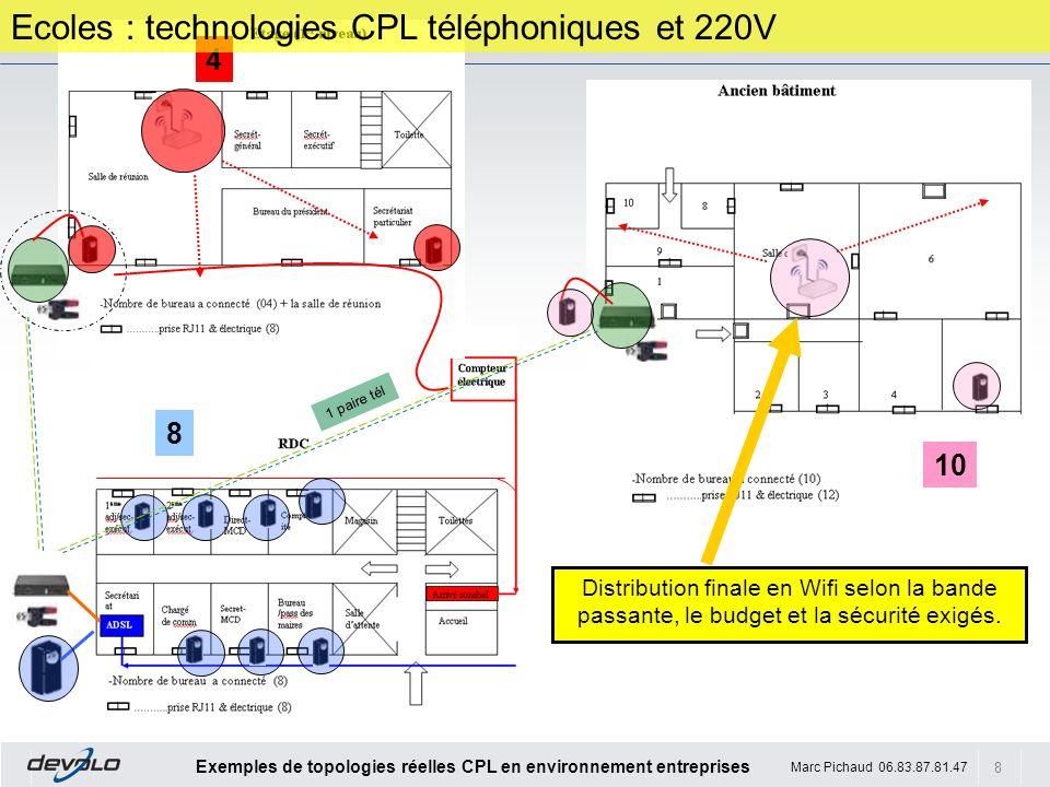 Ecoles : technologies CPL téléphoniques et 220V