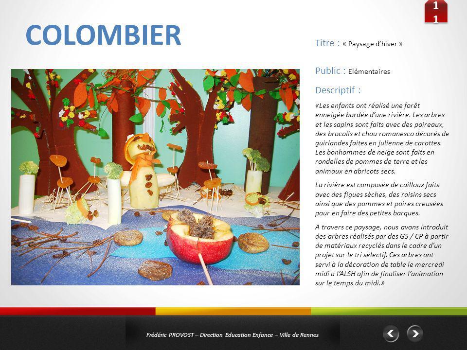 COLOMBIER 11 Titre : « Paysage d'hiver » Public : Elémentaires